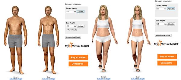 Virtual weight loss simulator using measurements