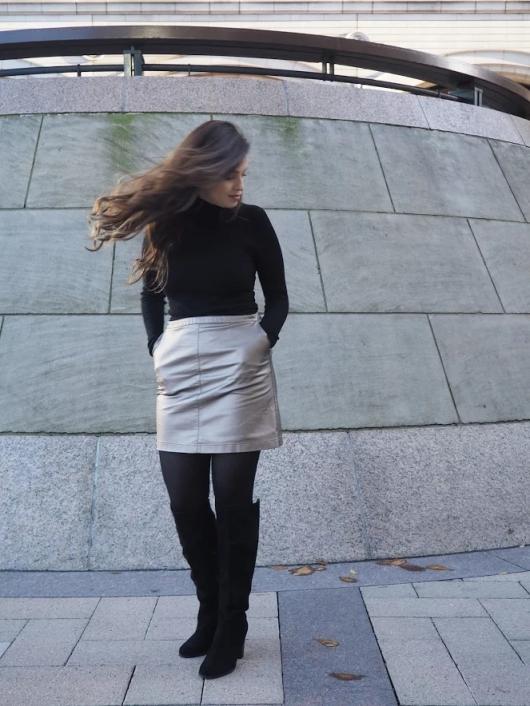 Winter 2016 Fashion Trends: Metallic Skirt & Knee High Boots