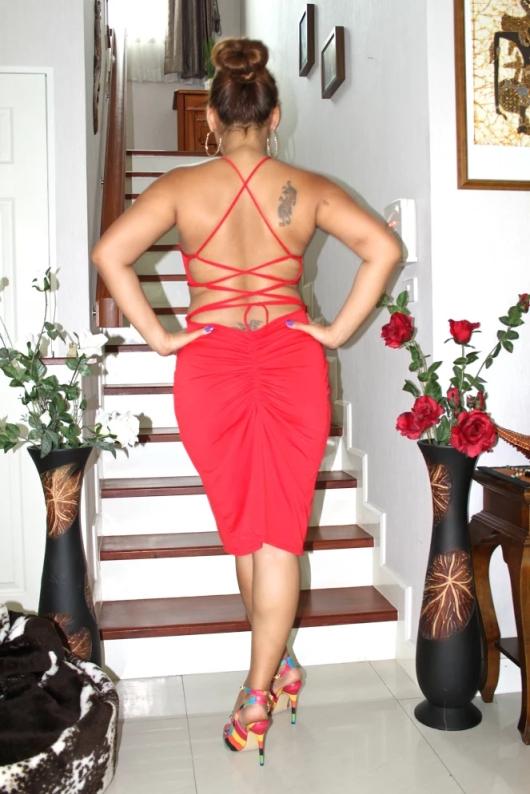 Red Shoulder Backless Slim Bodycon-Collaboration With Dresslink         |