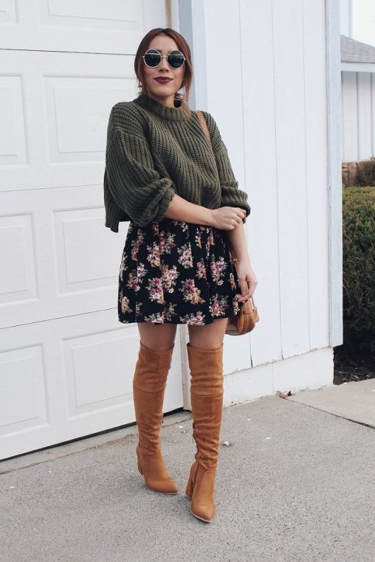 Outfit - Chunky Sweater and Floral Dress